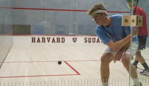 Sophomore Brett Raskopf sets up to backhand in a match against Dickinson at Harvard's Murr Center on Jan. 20. (Ray Bernoff / The Tufts Daily)
