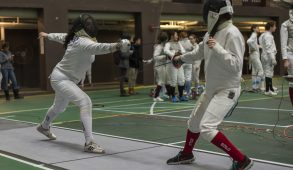 2/11/17 - Medford/Somerville, MA - Junior epee Grace Tellado in a match against BU at the Northeast Fencing Conference meet at Carzo Cage on Feb. 11. (Ray Bernoff / The Tufts Daily)