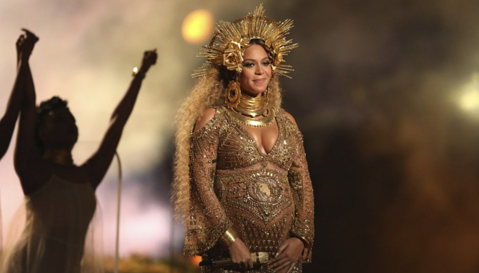 Beyonce performs at the 59th annual Grammy Awards on Feb. 12. (Photo by Matt Sayles/Invision/AP)