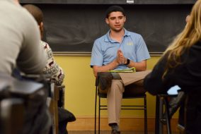 Senior David Bernstein, the newly-elected Risk Management Assistance Team chair for the IFC, responds to a question from the audience at The Union's panel discussion about the role of Greek life in the Tufts community in Braker Hall on Feb. 7. (Rachael Meyer / The Tufts Daily)