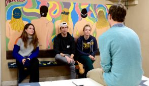 Students talk with current members of ATO during the fraternity's rush event at the ATO house on Feb. 13. (Rachael Meyer / The Tufts Daily)