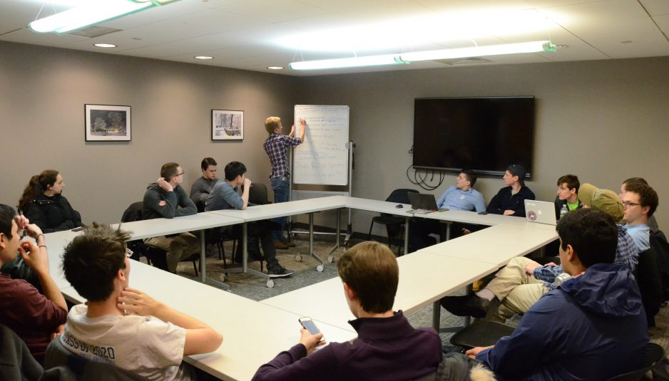 Tufts Republicans hold their weekly meeting in Campus Center Room 012 on Feb. 14. (Seohyun Shim / The Tufts Daily)