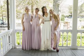 Shoshanna (Zosia Mamet), Hannah (Lena Dunham) and Jessa (Jemima Kirke) are bridesmaids for Marnie (Allison Williams) at her wedding in the beginning of the last season of 'Girls.' (Mark Schafer / HBO)