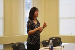 07/02/2017 - Medford, MA - President of the Boston City Council, Michelle Wu, speaks to an audience in Rabb room on Feb. 7. (Seohyun Shim / The Tufts Daily)