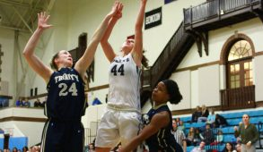 Medford/Somerville, MA - First-year Erica DeCandido manages a shot over Trinity defenders on Feb. 4, 2016. (Sitong Zhang / The Tufts Daily)