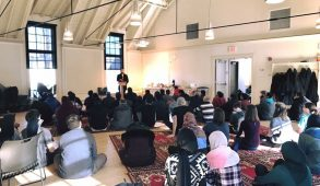 Students attend the Interfaith Jummah put on by the Tufts Muslim Students Association at the Interfaith Center on Friday, Feb 17. (Courtesy Zachary Cole)