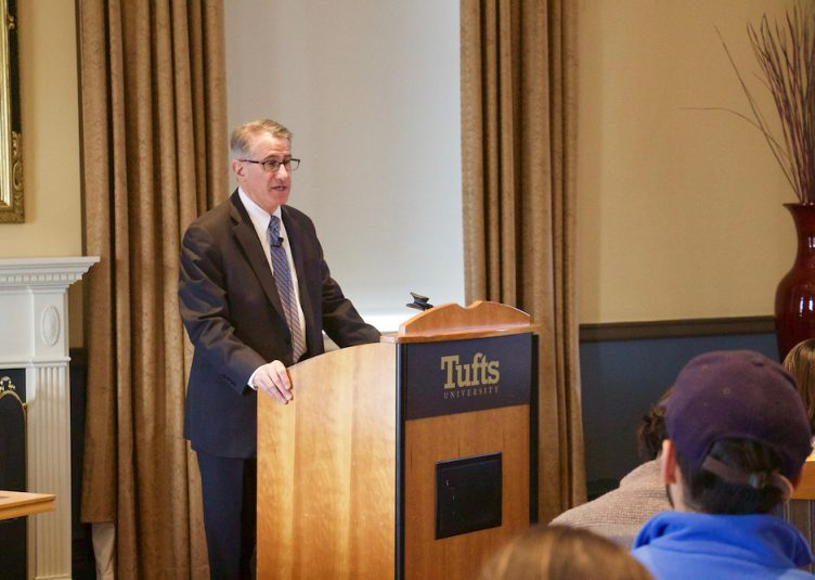 President Monaco speaks at a forum about Trump's executive order on Feb. 3. (Ezgi Yazici / The Tufts Daily)