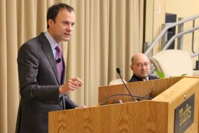David Rhodes, president of CBS News, speaks at the Fletcher School's ASEAN Auditorium about the media and politics on Feb. 6. (Zach Sebek / The Tufts Daily)