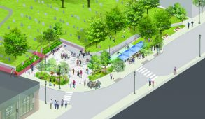 An artist's impression of the new Riverside Plaza shows more seating and an updated bus shelter. (Courtesy Clodagh Stoker-Long)