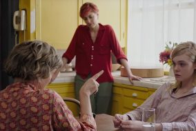 Dorothea (Annette Benning) and Julie (Elle Fanning) talk while Abbie (Greta Gerwig)  sits and listens in a scene from '20th Century Women.' (A24 Films)