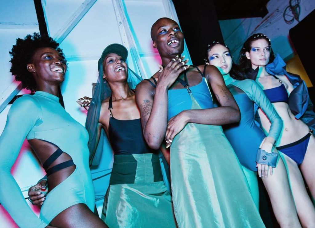 15f8b71c7f709 Models are pictured backstage at Chromat's fall 2018 runway show. Via  Chromat on Instagram